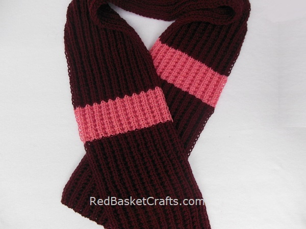 Knitted Reversible Scarf Seed Rib Stitch Medium Weight Worsted 4 Ply Yarn