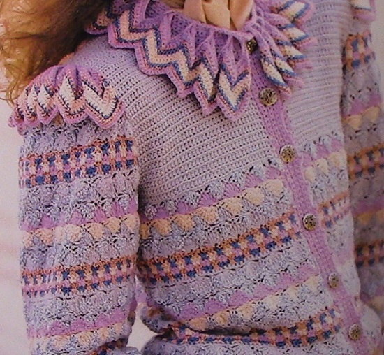 Ripple Collar Cardigan Crochet Pattern Sizes S, M, L