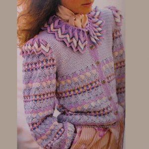 Ripple Collar Cardigan Crochet Pattern Shell Stitch Ruffled Collar Long Sleeves