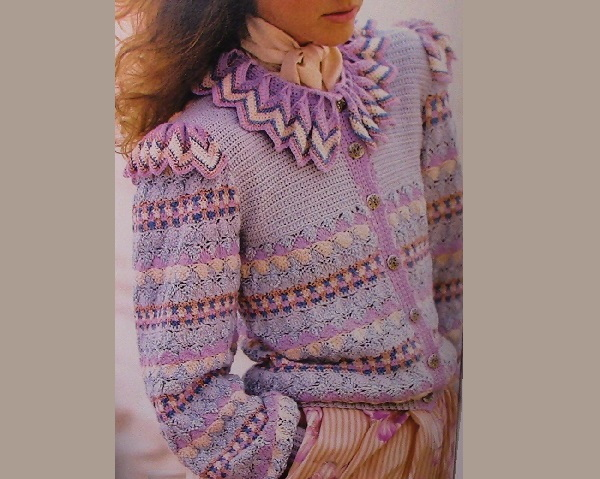 Ripple Collar Cardigan Crochet Pattern Shell Stitch Ruffled Collar Long Sleeves