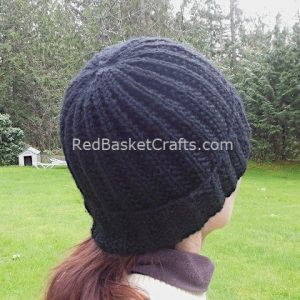 Ribbed Hat With Fold-Over Brim 4 Ply Knitting Pattern