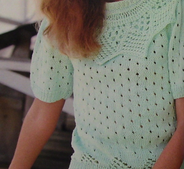 Summer Pullover With Short Sleeves Collar Lace Stitch Knitting Pattern