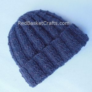 Square Rib Brim-Over Hat Knitted - Medium Weight Wool - Intermediate Level