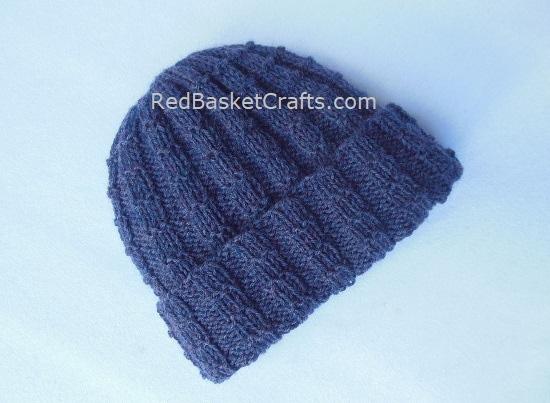 Square Rib Brim-Over Hat Knitted - Medium Weight Wool - Intermediate Level