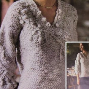 Knit Sweater Chunky Yarn Vintage Pattern