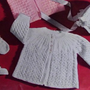 Baby Jacket Booties Bonnet Mittens Knitting Pattern