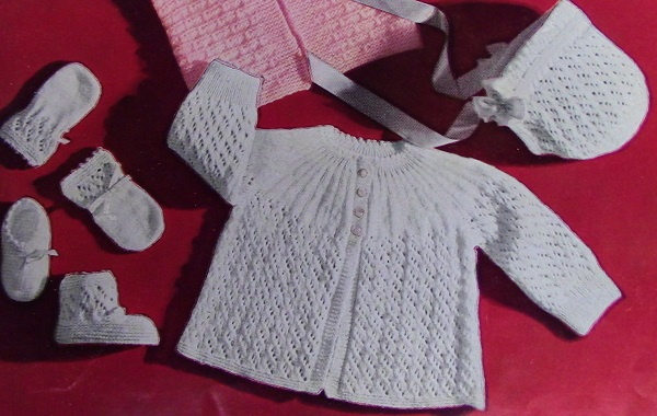 Baby Jacket Booties Bonnet Mittens Knitting Pattern