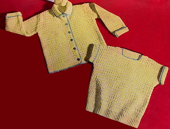 Kids' Set Cardigan and Top Crochet Pattern Vintage Baby Yarn Intermediate Size 3 and 4