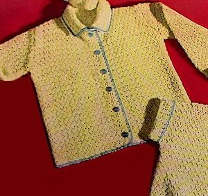 Crochet Kids' Cardigan Shirt 19502 Vintage Fingering Yarn Easy Crochet Pattern