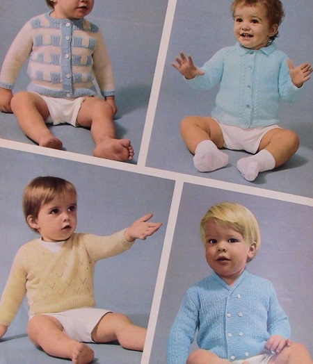4 Sweaters Baby Knitting Booklet - Sport and Fingering Yarn