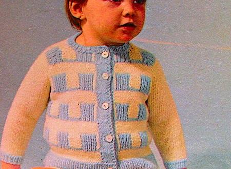 Baby Buttoned Cardigan Stitch Knitting Pattern Sport Yarn