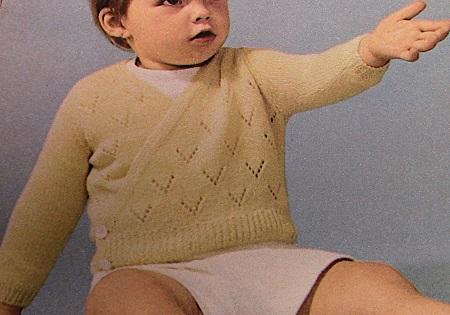 Baby Cardigan V Neck Lace and Stockinette Stitch Knitting Pattern