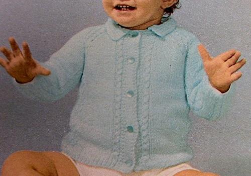 Baby Raglan Cardigan With Collar Buttons Border Knitting Pattern