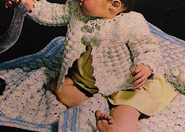 Infant Blanket Cardigan Vintage Crochet Pattern