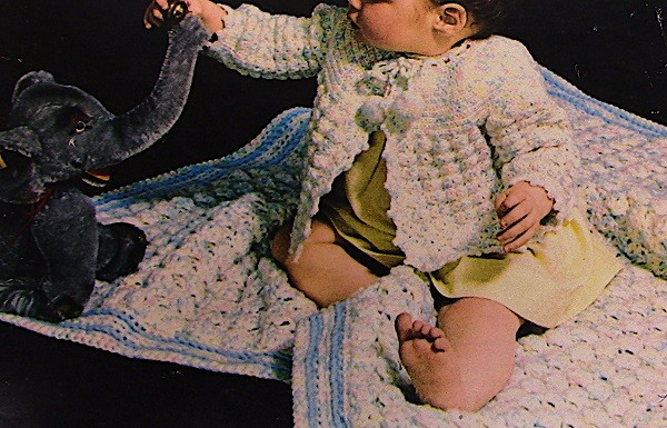 Crochet Baby Blanket And Sweater Fingering Yarn and Vintage Pattern