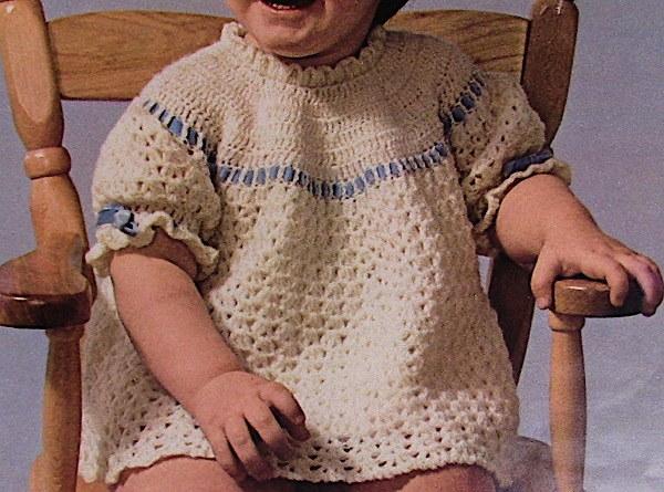 Crochet Girls Dress Yoke Short Sleeves Fingering Yarn Size 1, 2, 3