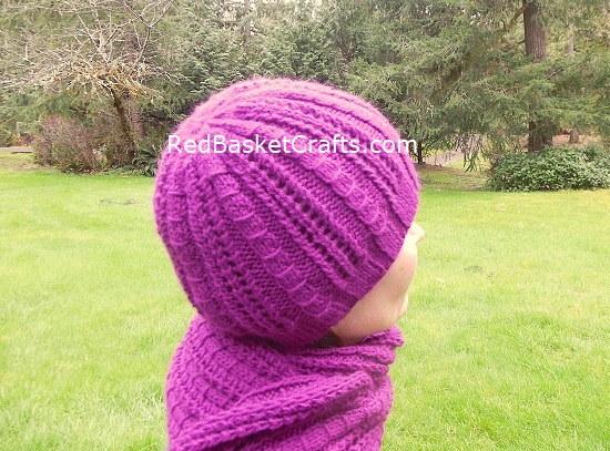 Garland Beanie and Scarf - Openwork Rib Stitch Knitting Pattern DK Yarn 3 Ply