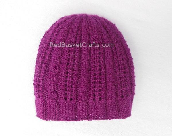 Ribbed Beanie Hat DK 3 Ply Yarn Knitting Pattern