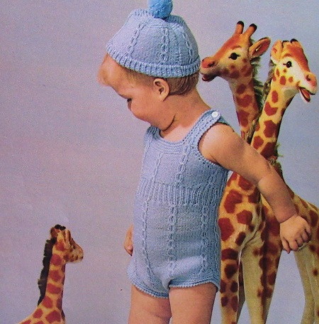 Sunsuit and Cap Baby Set Knitting Pattern