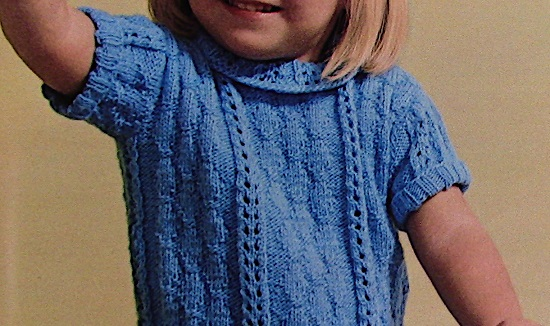 Texture and Lace Leaf Sweater for Girls Knitting Pattern