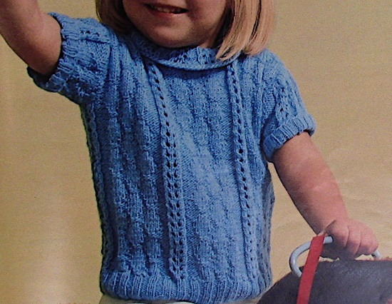 Texture Lace Short Sleeved Top Sizes 4 6 8 10 12 Girls Knitting Pattern