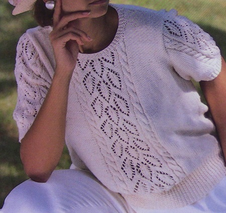 Leaf Stitch Summer Top - Sizes XS, S, M, L - 4 Ply Worsted Cotton - Knitting Pattern