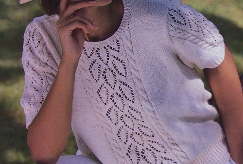 Lace Leaf And Cable Stitch Summer Top - Sizes XS, S, M, L - Worsted 4 Ply Yarn - Knitting Pattern