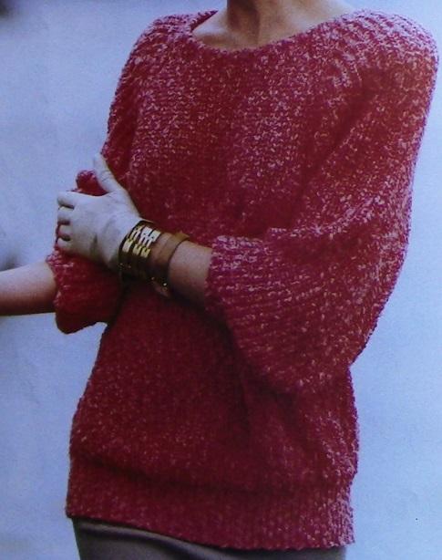 Rib Stitch Pullover - Worsted Yarn - Size L, XL, 2X - Knitting Pattern