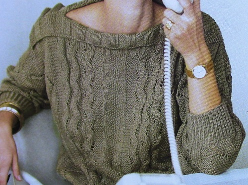 Lace Cotton Pullover Long Sleeves Sizes M, L, XL - 3 Ply DK Yarn - Knitting Pattern