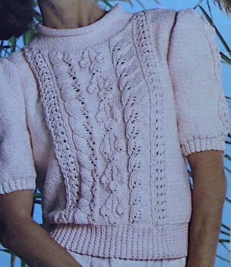 Knitted SUmmer Top Leaf Stitch Short Sleeves Worsted or DK Yarn