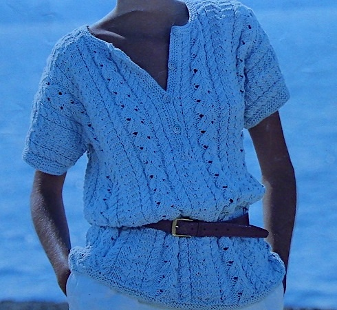 Cable Leaf Stitch Pullover Knitting Pattern Vintage Worsted Yarn Size S, M, L