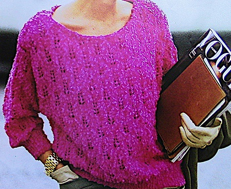 Lace Stitch Sweater Sizes M, L, XL - DK Yarn - Knitting Pattern
