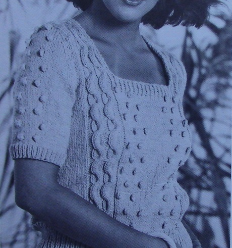 Textured Short Sleeved Top Square Neck Worsted Yarn Knitting Pattern