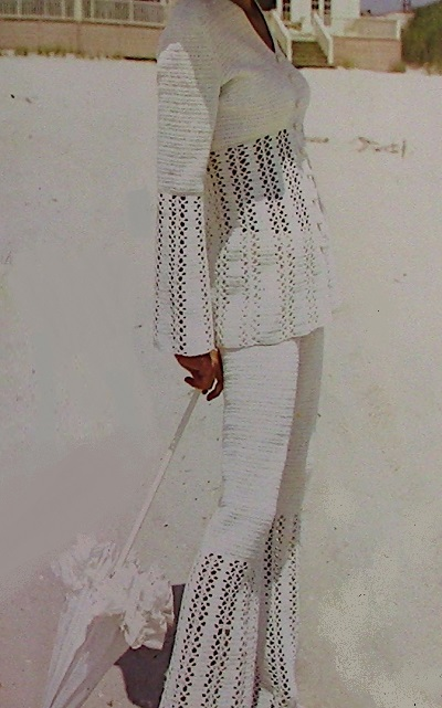 Crochet Jacket, Pants -Summer Suit Fingering Yarn Size S, M - Vintage Pattern