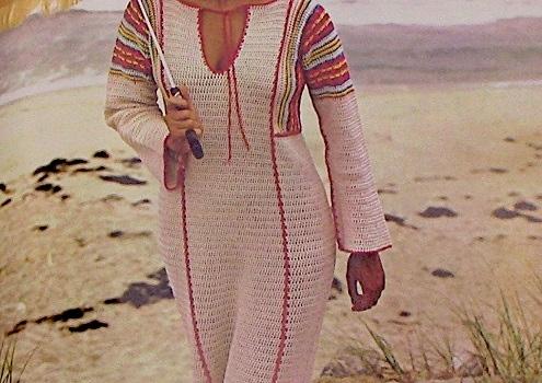 Long Women's Dress With Long Sleeves Sport 2 Ply Yarn Crochet Pattern