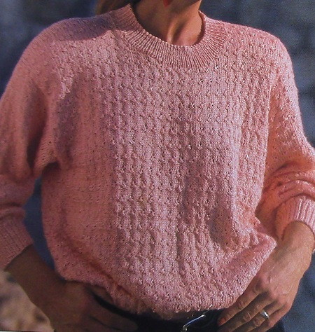 Knot Stitch Sweater, Long Sleeves - Sizes S, M, L - DK 3 Ply Yarn - Knitting Pattern