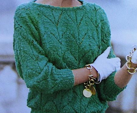 Pullover Leaf Ripple Stitch DK 3 Ply Yarn Knitting Pattern