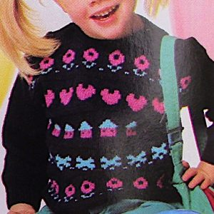 Fair Isle Sweater Kids Sizes 2, 4, 6 - DK Yarn - Knitting Pattern Vintage