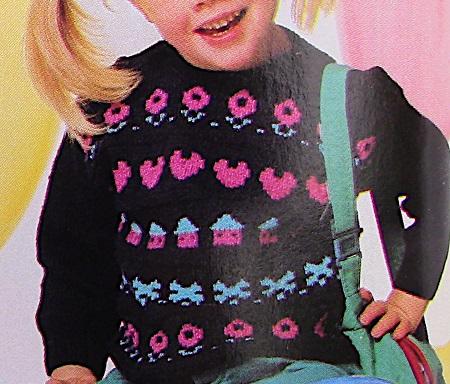 Fair Isle Sweater Kids Sizes 2, 4, 6 - DK Yarn - Knitting Pattern Vintage
