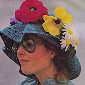 Wide Brim Crochet Summer Hat One Size Vintage Pattern