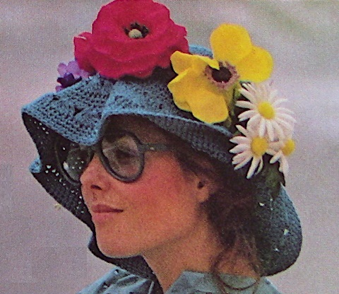 Wide Brim Crochet Summer Hat One Size Vintage Pattern