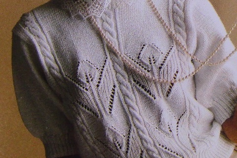 Tulip Summer Sweater Short Sleeves Leaf Stitch Cables - DK Yarn - Knitting Pattern