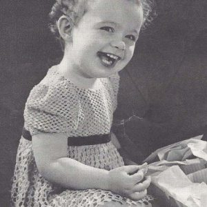 Girl's Summer Dress, Sizes 2 and 3 - Fingering Yarn - 1940s Vintage Crochet Pattern