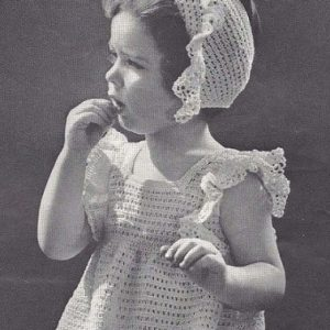 Girls Lacy Dress Fingering Yarn Crochet Pattern Vintage