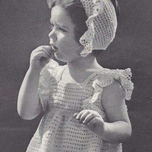 Girls Lacy Dress Fingering Yarn Crochet Pattern Vintage