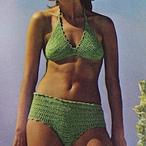 Green Bathing Suit XS, S, M - Sport Yarn - Vintage Crochet Pattern