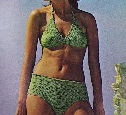 Green Bathing Suit XS, S, M - Sport Yarn - Vintage Crochet Pattern
