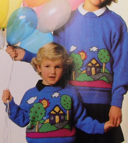 Fair Isle Sweater Home Trees, Sun, Cloud, House Motif - DK Yarn 3 Ply - Sizes 2, 4, 6, 8, 10, 12, 14 - Knitting Pattern Vintage 1980s