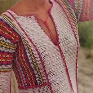 Long Summer Dress With Contrasting Edging Sport 2 Ply Yarn Crochet Pattern