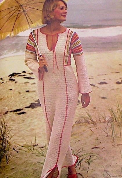 Kaftan Dress Sport Yarn Crochet Pattern Vintage